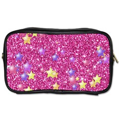 Stars On Sparkling Glitter Print,pink Toiletries Bags by MoreColorsinLife