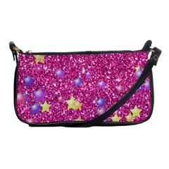 Stars On Sparkling Glitter Print,pink Shoulder Clutch Bags by MoreColorsinLife