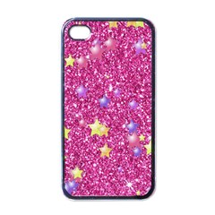 Stars On Sparkling Glitter Print,pink Apple Iphone 4 Case (black) by MoreColorsinLife