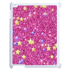 Stars On Sparkling Glitter Print,pink Apple Ipad 2 Case (white) by MoreColorsinLife