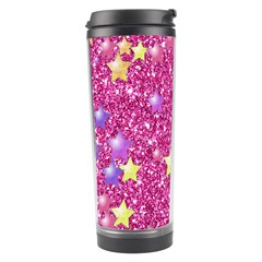 Stars On Sparkling Glitter Print,pink Travel Tumbler by MoreColorsinLife