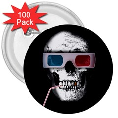 Cinema Skull 3  Buttons (100 Pack)  by Valentinaart
