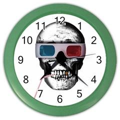 Cinema Skull Color Wall Clocks by Valentinaart
