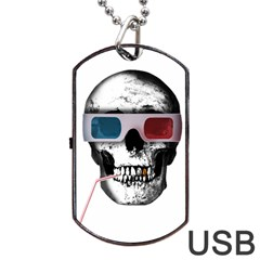 Cinema Skull Dog Tag Usb Flash (one Side) by Valentinaart