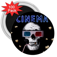 Cinema Skull 3  Magnets (100 Pack) by Valentinaart