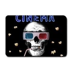 Cinema Skull Small Doormat  by Valentinaart