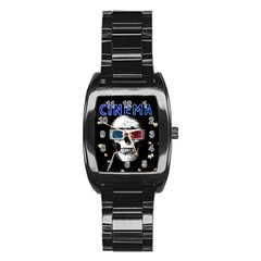 Cinema Skull Stainless Steel Barrel Watch by Valentinaart