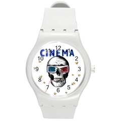 Cinema Skull Round Plastic Sport Watch (m) by Valentinaart