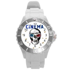 Cinema Skull Round Plastic Sport Watch (l) by Valentinaart