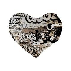 Graffiti Standard 16  Premium Heart Shape Cushions by Valentinaart