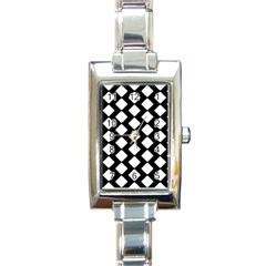 Abstract Tile Pattern Black White Triangle Plaid Rectangle Italian Charm Watch by Alisyart