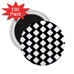 Abstract Tile Pattern Black White Triangle Plaid 2 25  Magnets (100 Pack)  by Alisyart