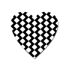 Abstract Tile Pattern Black White Triangle Plaid Heart Magnet by Alisyart