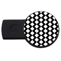 Abstract Tile Pattern Black White Triangle Plaid Usb Flash Drive Round (2 Gb) by Alisyart