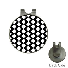 Abstract Tile Pattern Black White Triangle Plaid Hat Clips With Golf Markers by Alisyart