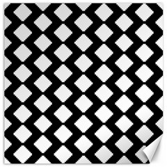 Abstract Tile Pattern Black White Triangle Plaid Canvas 12  X 12   by Alisyart