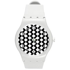 Abstract Tile Pattern Black White Triangle Plaid Round Plastic Sport Watch (m) by Alisyart