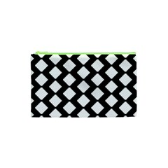 Abstract Tile Pattern Black White Triangle Plaid Cosmetic Bag (xs) by Alisyart