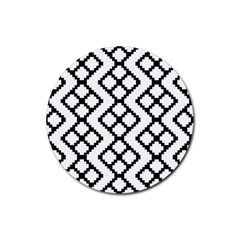 Abstract Tile Pattern Black White Triangle Plaid Chevron Rubber Round Coaster (4 Pack)