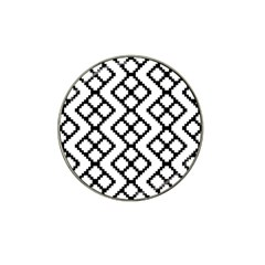 Abstract Tile Pattern Black White Triangle Plaid Chevron Hat Clip Ball Marker by Alisyart