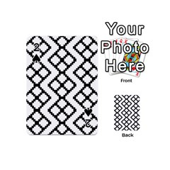 Abstract Tile Pattern Black White Triangle Plaid Chevron Playing Cards 54 (mini)