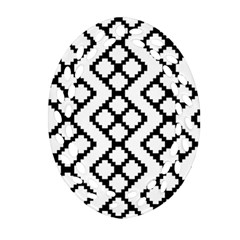 Abstract Tile Pattern Black White Triangle Plaid Chevron Ornament (oval Filigree) by Alisyart