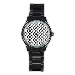 Abstract Tile Pattern Black White Triangle Plaid Chevron Stainless Steel Round Watch by Alisyart