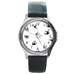 Black Bird Fly Sky Round Metal Watch by Alisyart