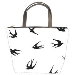 Black Bird Fly Sky Bucket Bags by Alisyart