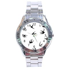 Black Bird Fly Sky Stainless Steel Analogue Watch by Alisyart