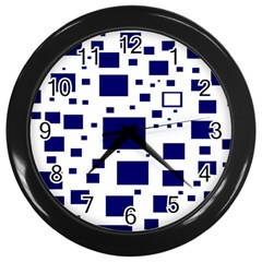 Blue Squares Textures Plaid Wall Clocks (black) by Alisyart