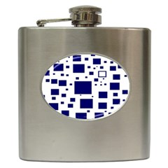 Blue Squares Textures Plaid Hip Flask (6 Oz) by Alisyart
