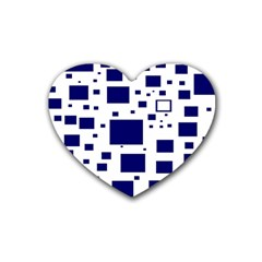 Blue Squares Textures Plaid Rubber Coaster (heart)  by Alisyart