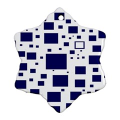 Blue Squares Textures Plaid Snowflake Ornament (two Sides) by Alisyart