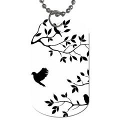 Bird Tree Black Dog Tag (one Side) by Alisyart