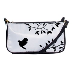 Bird Tree Black Shoulder Clutch Bags by Alisyart