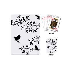 Bird Tree Black Playing Cards (mini)  by Alisyart