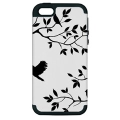 Bird Tree Black Apple Iphone 5 Hardshell Case (pc+silicone) by Alisyart
