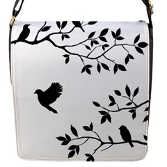 Bird Tree Black Flap Messenger Bag (s) by Alisyart