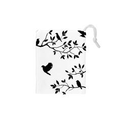 Bird Tree Black Drawstring Pouches (xs)  by Alisyart