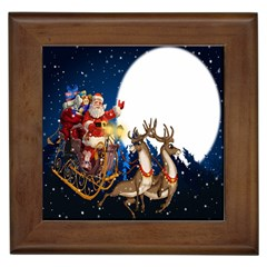 Christmas Reindeer Santa Claus Snow Night Moon Blue Sky Framed Tiles by Alisyart
