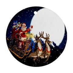 Christmas Reindeer Santa Claus Snow Night Moon Blue Sky Ornament (round) by Alisyart