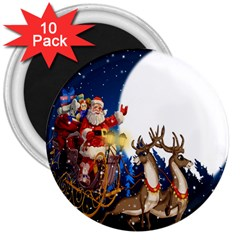 Christmas Reindeer Santa Claus Snow Night Moon Blue Sky 3  Magnets (10 Pack)  by Alisyart