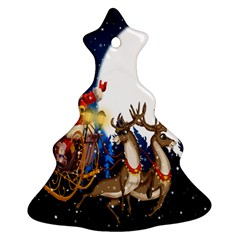 Christmas Reindeer Santa Claus Snow Night Moon Blue Sky Christmas Tree Ornament (two Sides) by Alisyart