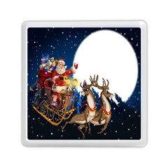 Christmas Reindeer Santa Claus Snow Night Moon Blue Sky Memory Card Reader (square)  by Alisyart
