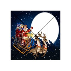 Christmas Reindeer Santa Claus Snow Night Moon Blue Sky Acrylic Tangram Puzzle (4  X 4 ) by Alisyart