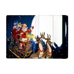 Christmas Reindeer Santa Claus Snow Night Moon Blue Sky Apple Ipad Mini Flip Case by Alisyart