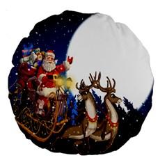 Christmas Reindeer Santa Claus Snow Night Moon Blue Sky Large 18  Premium Round Cushions by Alisyart