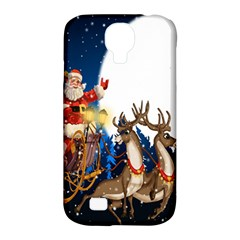 Christmas Reindeer Santa Claus Snow Night Moon Blue Sky Samsung Galaxy S4 Classic Hardshell Case (pc+silicone) by Alisyart
