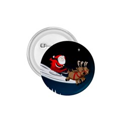 Christmas Reindeer Santa Claus Snow Star Blue Sky 1 75  Buttons by Alisyart
